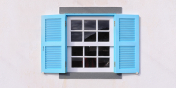 »LIGHT BLUE WINDOW FLAPS«